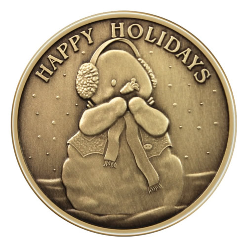 Christmas Bronze 2013 Happy Holidays Snowman 1oz X 12