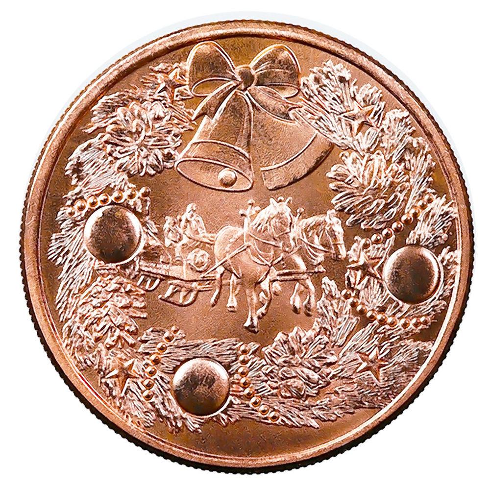 Christmas Holiday Horse and Sleigh 1oz Copper Round