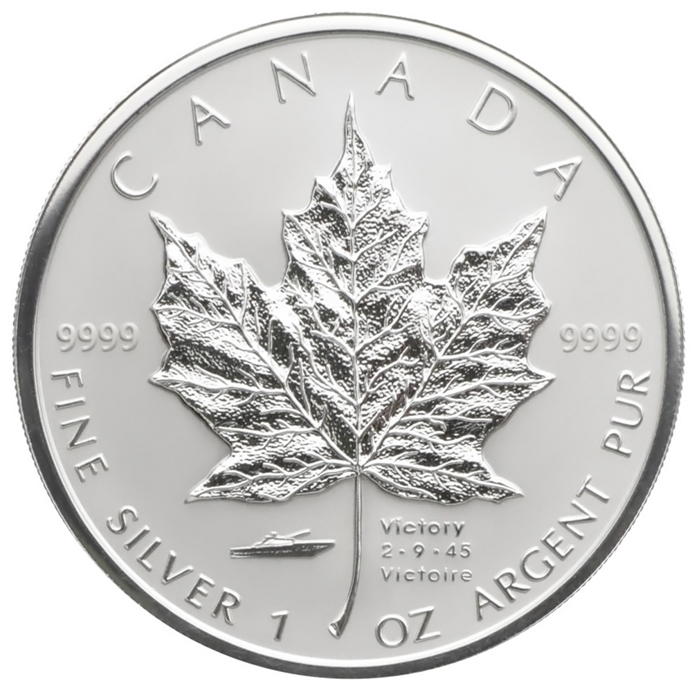 2005 Canada 1 oz. Silver Maple Leaf Reverse Proof V-J Day Privy Mark