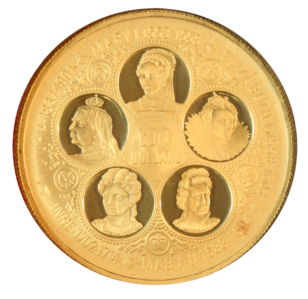 Cayman Islands $100 Gold PF 1975 Queens of England