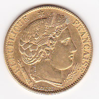 France 10 Francs gold coin, 1850-1851 Cerus