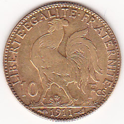 France 10 Francs Rooster Gold Coin 1899-1914