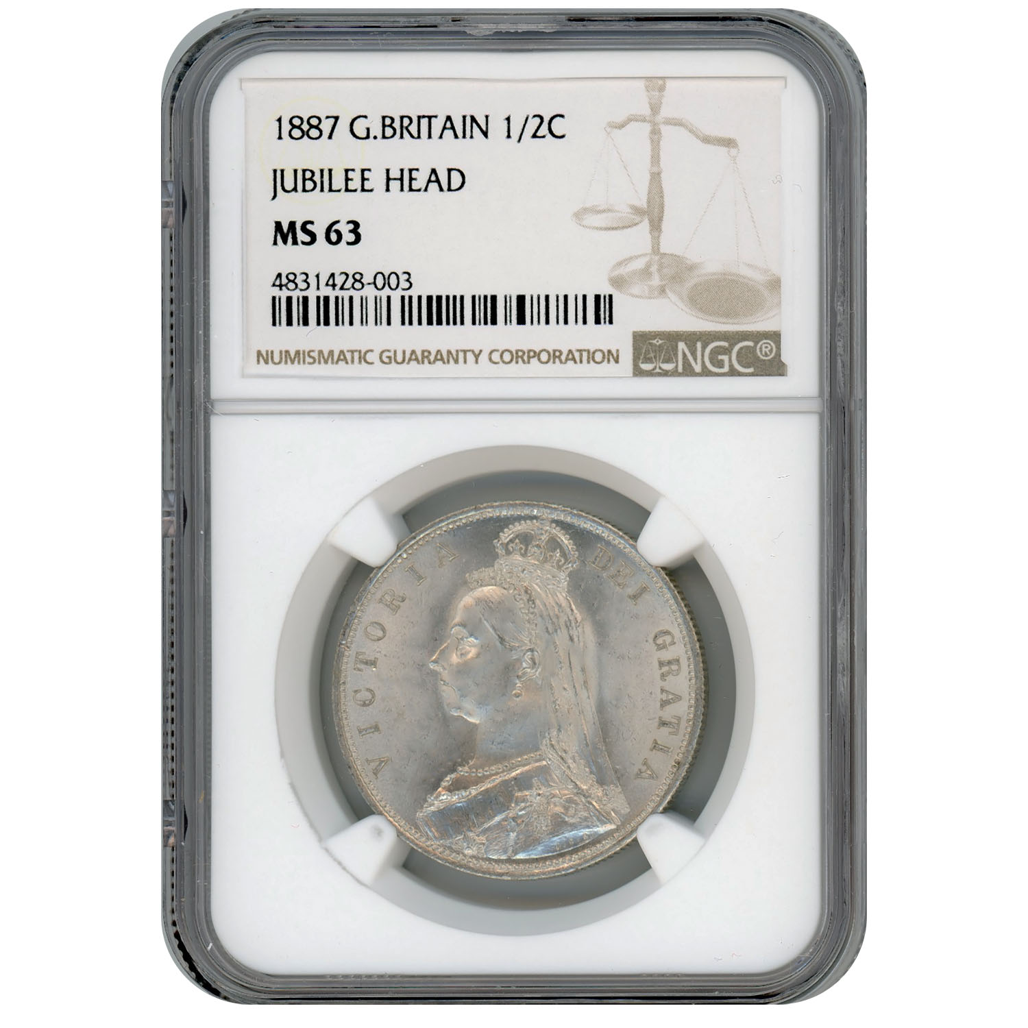 Great Britian Half Crown Silver 1887 MS63 NGC