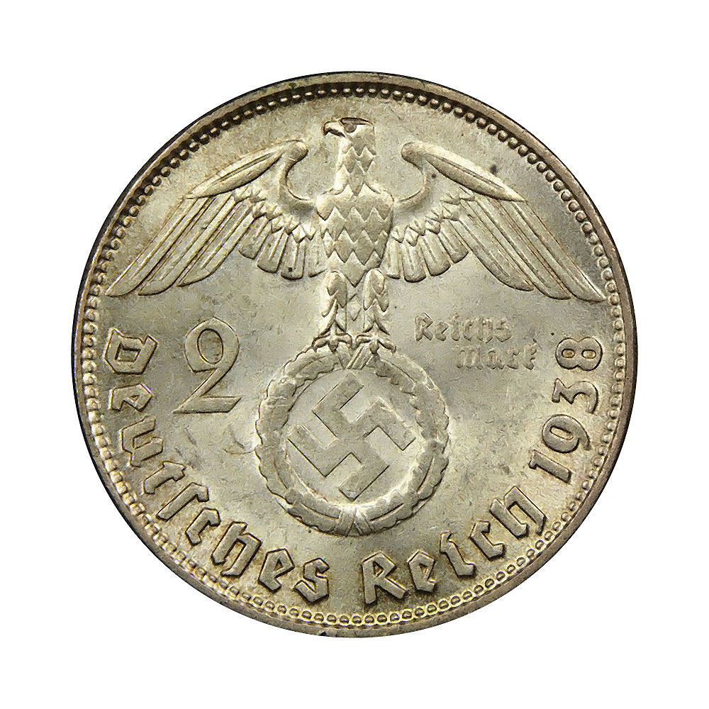 Germany Third Reich 2 reichsmark 1936-1939 VF-XF KM93