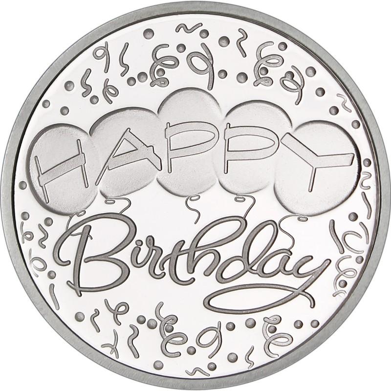 Happy Birthday Balloons 999 Silver 1 Oz Round Golden