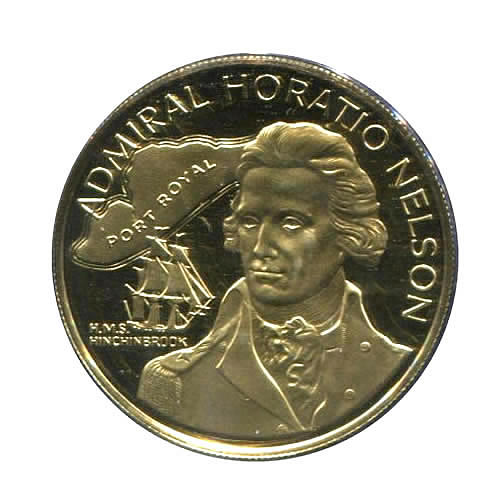 Jamaica $100 Gold PF 1976 Admiral Nelson