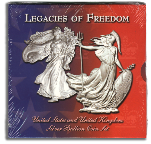 Legacies of Freedom Silver Eagle 2003 & Silver Britannia 2002 Coin Set