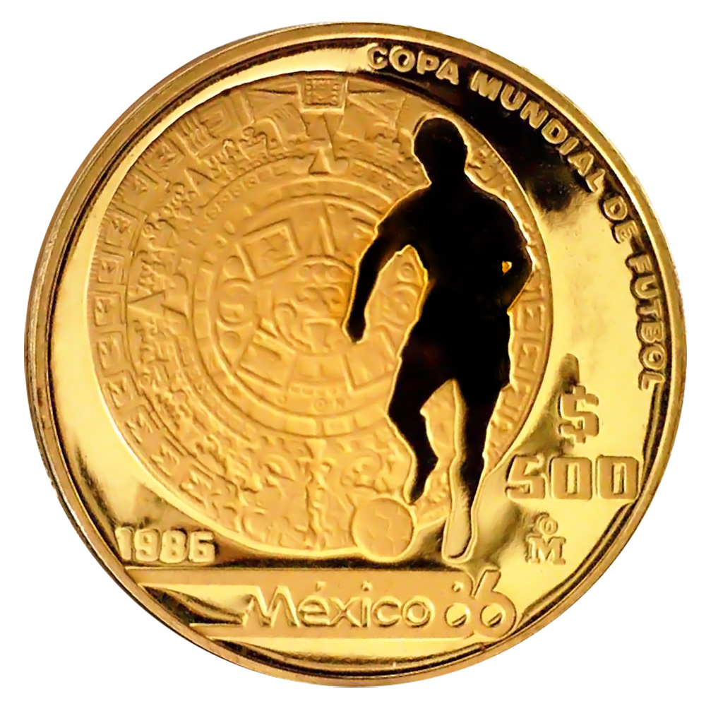 Mexico 500 Pesos Gold 1986 PF World Cup