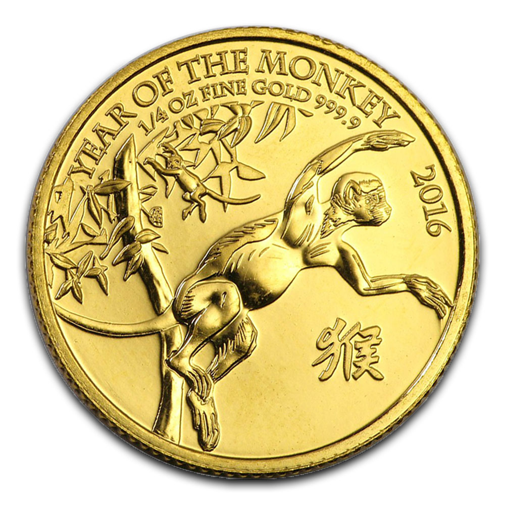 Great Britain Quarter Ounce Gold 2016 Year of the Monkey