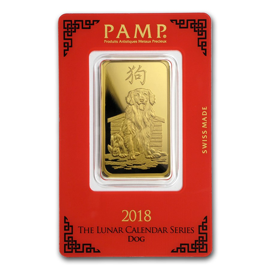 PAMP Suisse One Ounce Gold Bar - 2018 Dog Design