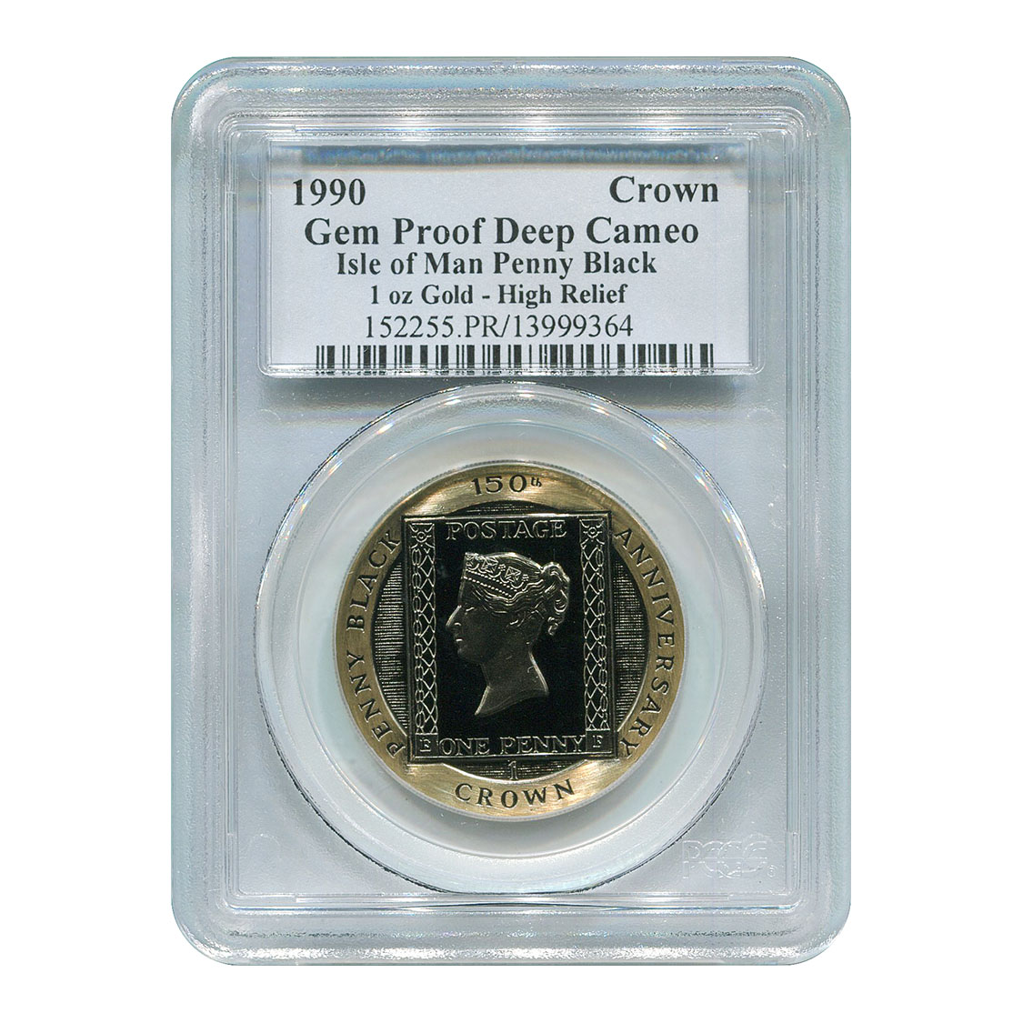 Certified Isle of Man Gold Penny Black 1990 Gem Proof Deep Cameo PCGS