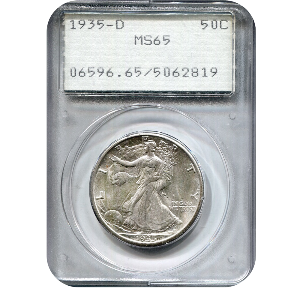 Certified Walking Liberty Half Dollar 1935-D MS65 PCGS Rattler