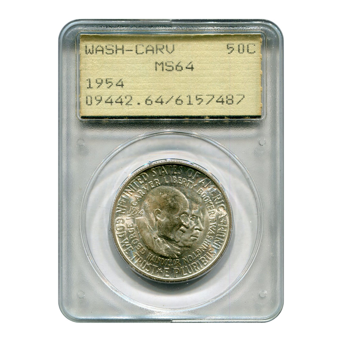 Certified Commemorative Half Dollar Washington Carver 1954 MS64 PCGS Rattler