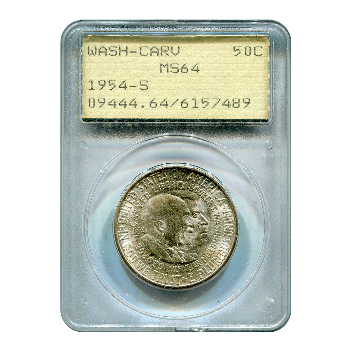 Certified Commemorative Half Dollar Washington Carver 1954-S MS64 PCGS Rattler
