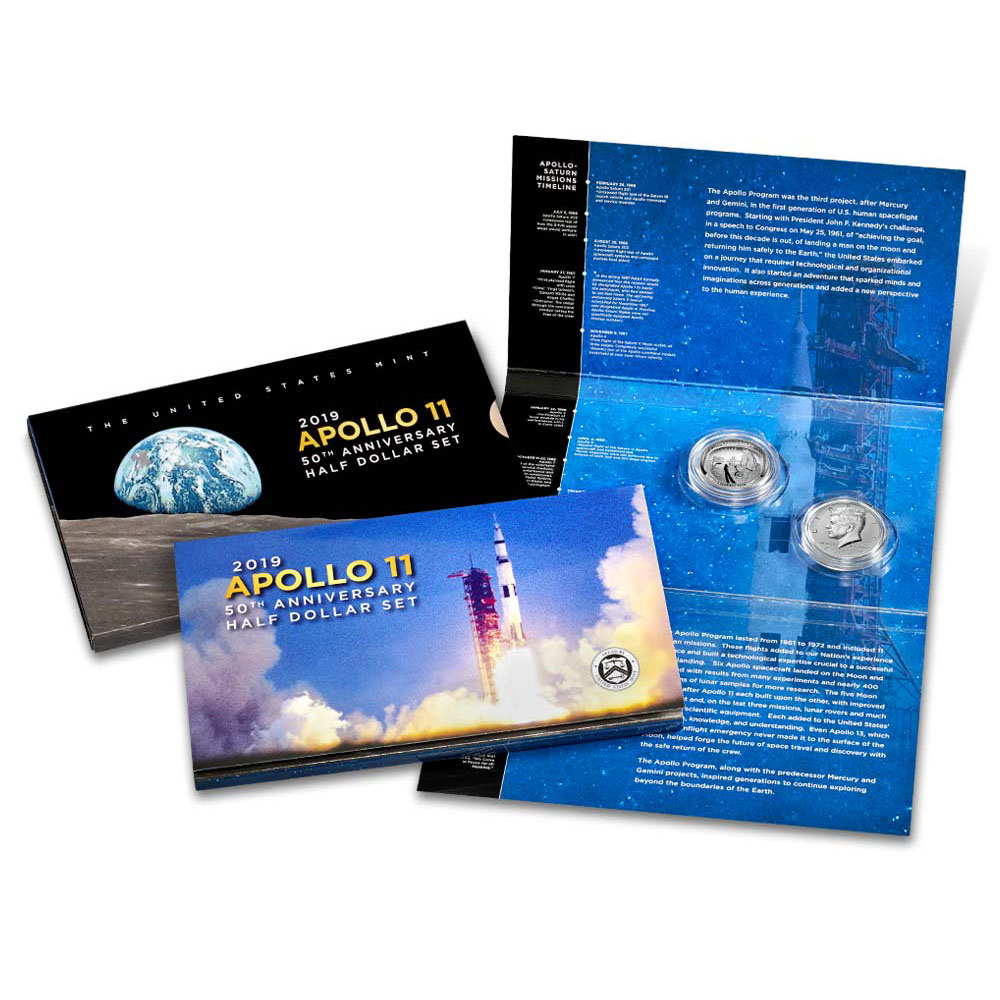 2019 Apollo 11 50th Anniversary Half Dollar Set