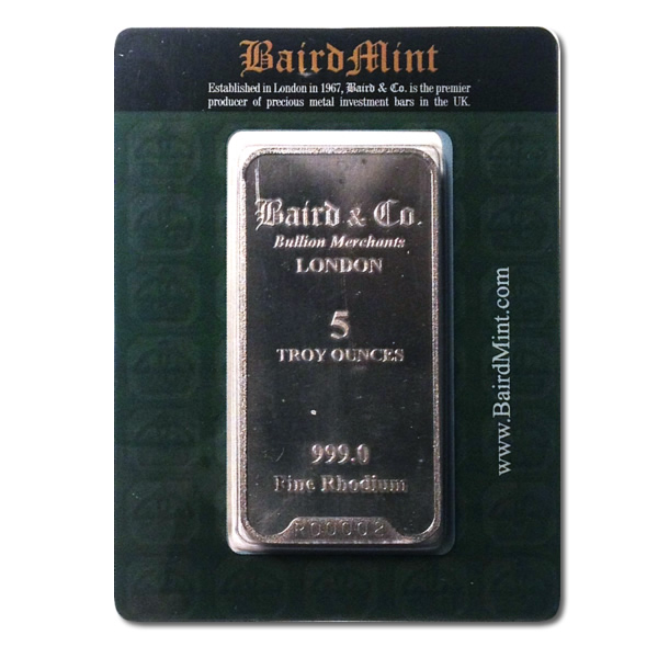 Baird Mint 5 Ounce Rhodium Bar Golden Eagle Coins