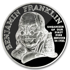 1992 Ben Franklin Firefighters Silver Medal 1 Oz Proof