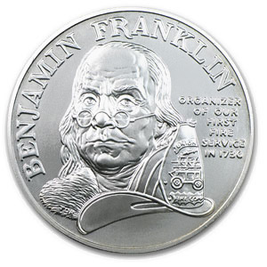 1992 Ben Franklin Firefighters Silver Medal 1 oz - Unc