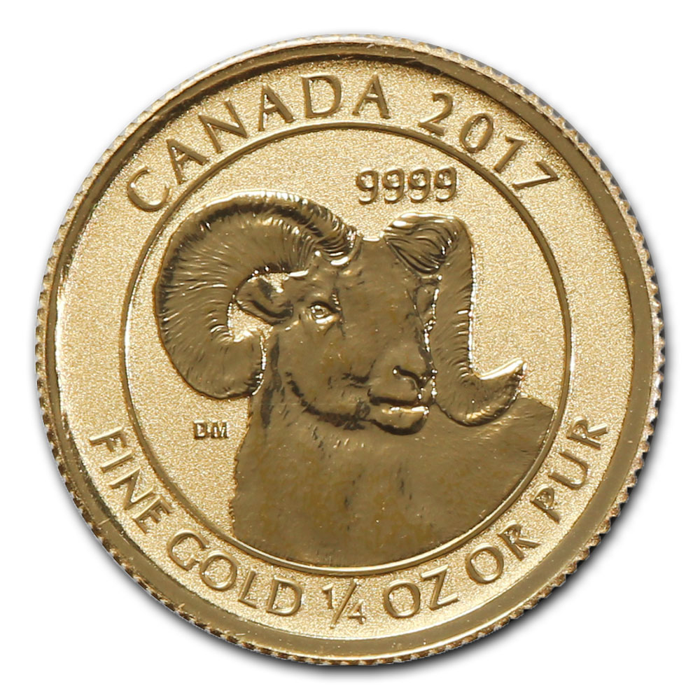 2017 Canada 1/4 oz Gold Big Horn Sheep Uncirculated in Original Mint Plastic