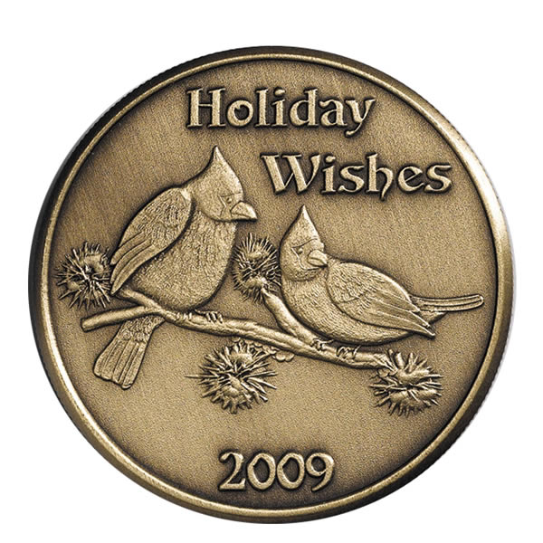 Christmas 2009 Bronze Round X-11 Holiday Wishes (with ornament holder)