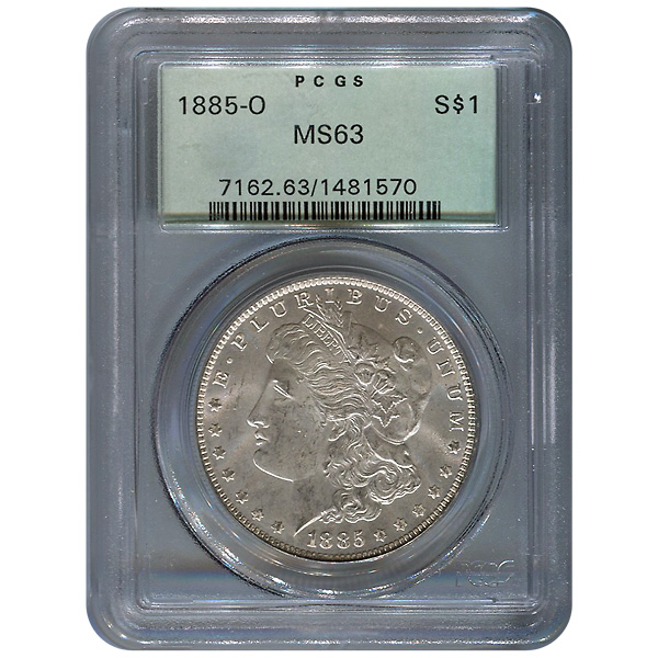 Certified Morgan Silver Dollar 1885-O MS63 PCGS