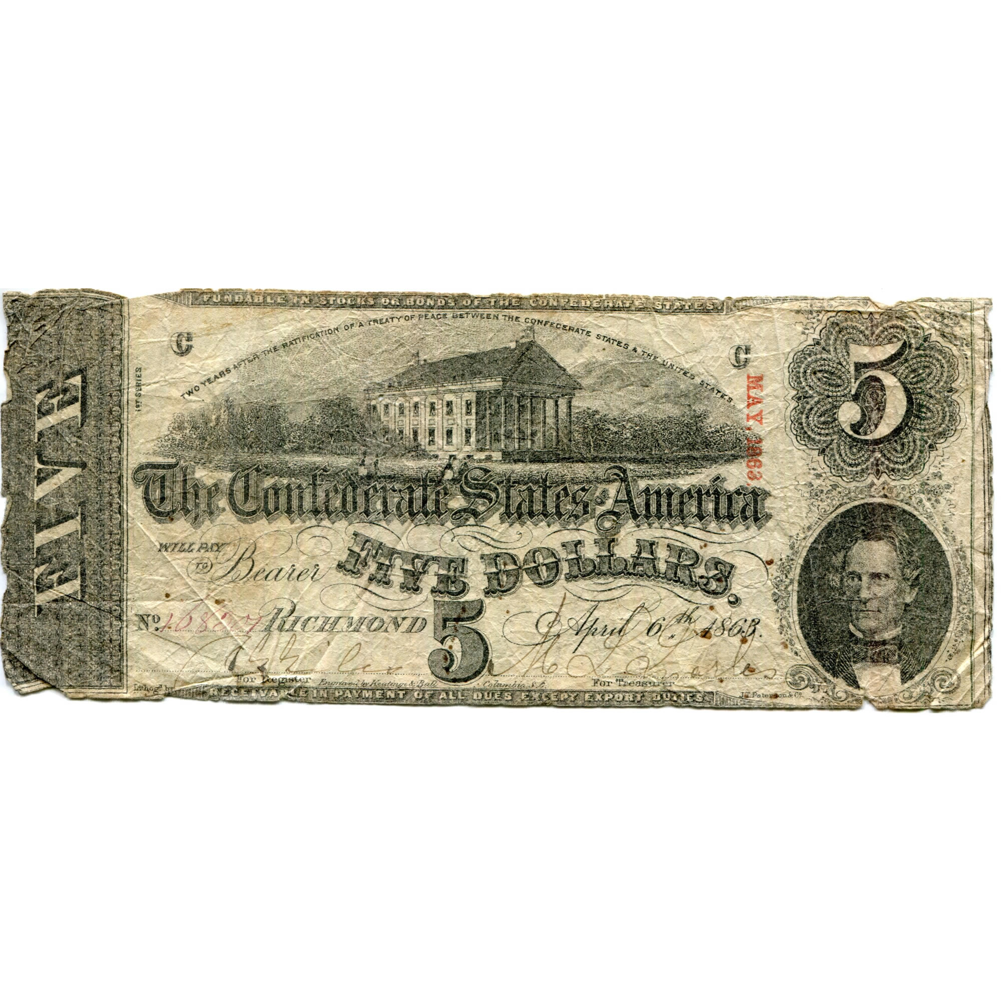 $5 1863 Confederate Bank Note T60 G-VG