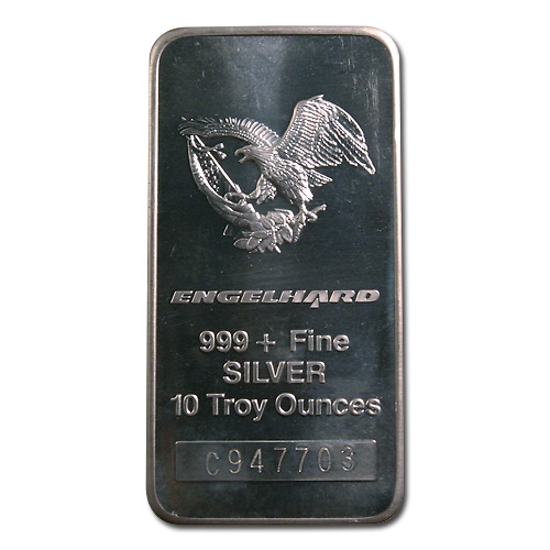 Engelhard Silver Bar 10 Oz Bar Tall Eagle Golden
