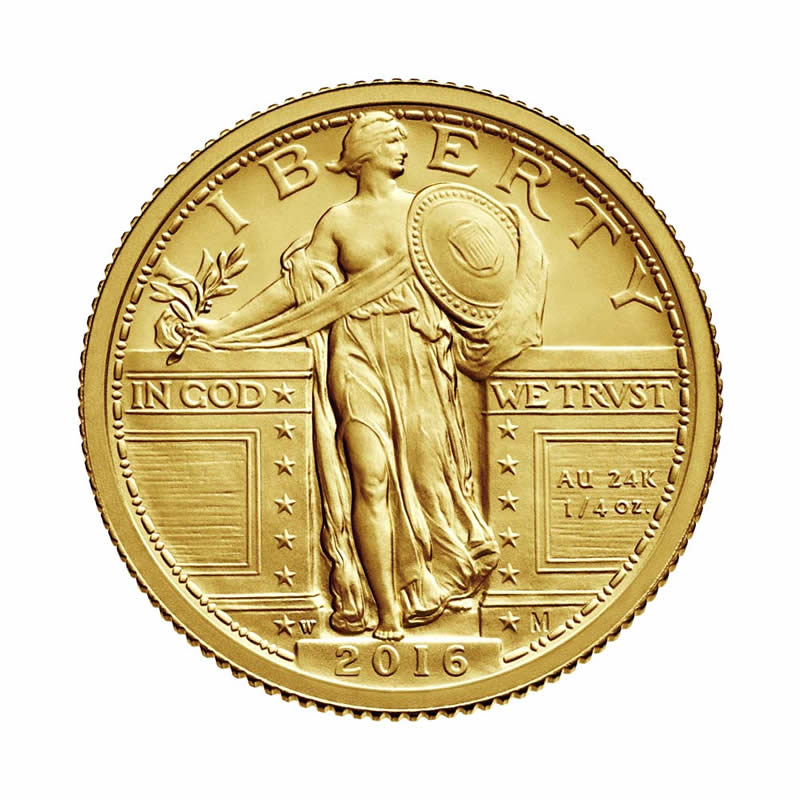 2016 W 1 4 Oz Gold Standing Liberty Quarter Coin Original