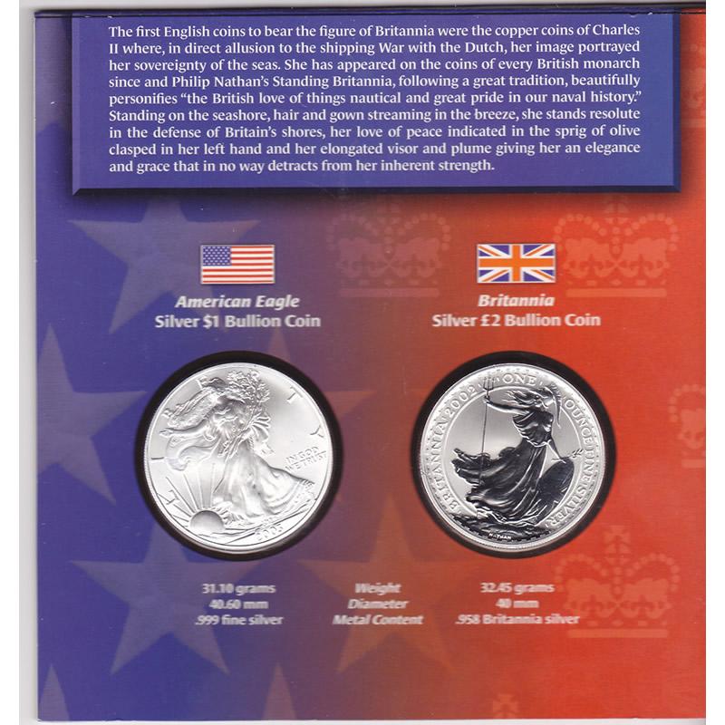 Legacies Of Freedom Silver Eagle 2003 Amp Silver Britannia 2002 Coin Set Golden Eagle