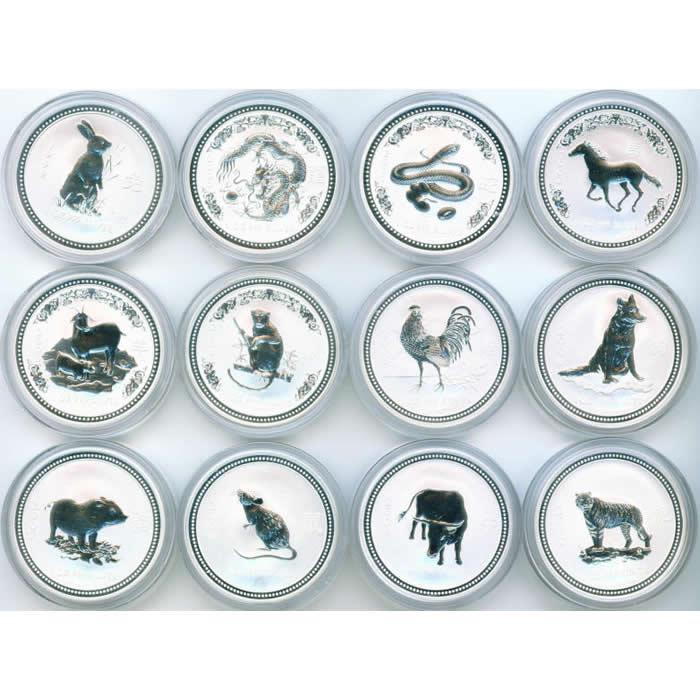 Australia Lunar 1 oz. Silver 12 pc. Set With Box