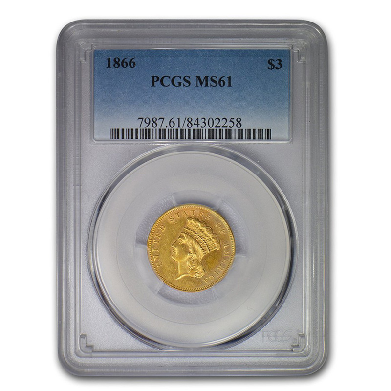 Certified US Gold $3  MS61 (Dates Our Choice) PCGS or NGC