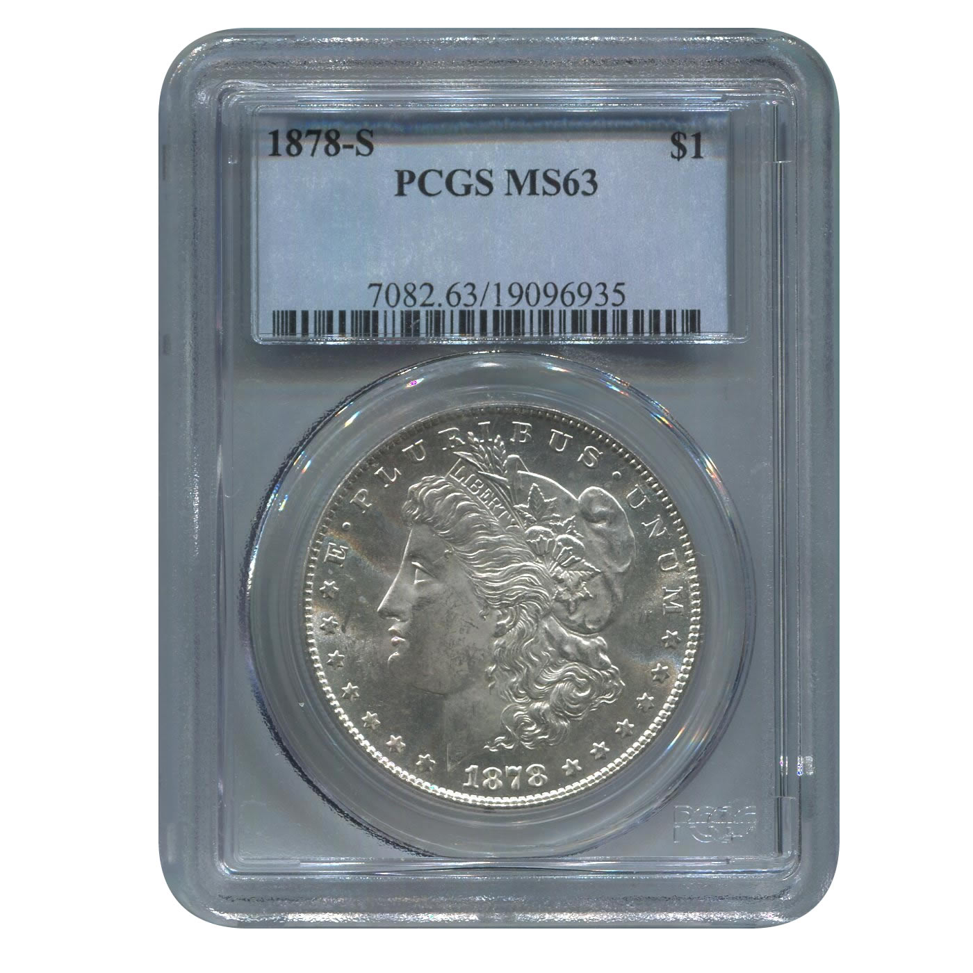 Certified Morgan Silver Dollar 1878-S MS 63 PCGS