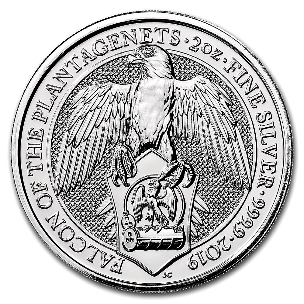 2019 2 oz British Silver Queen's Beast Falcon Coin (BU)