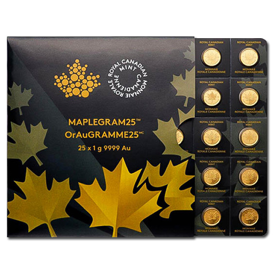 25 x 1 gram Gold Maple Leafs - Maplegram25 (In Assay Sleeve)