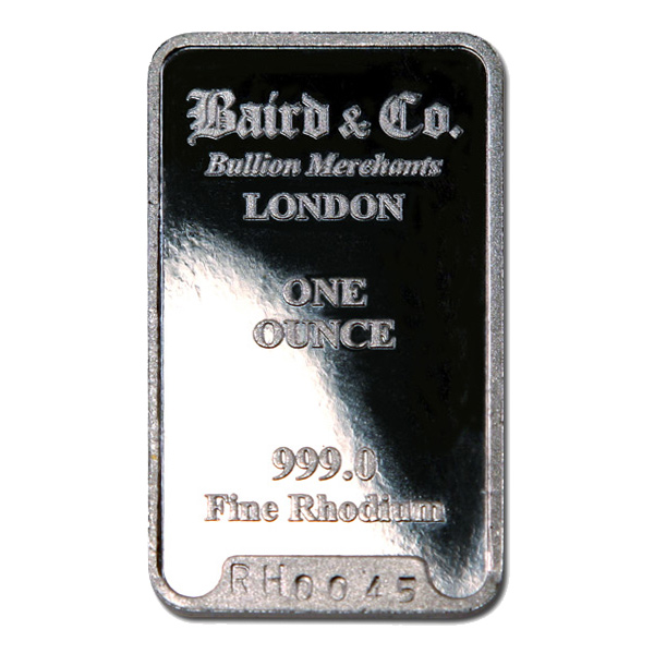 Baird Mint One Ounce Rhodium Bar Golden Eagle Coins