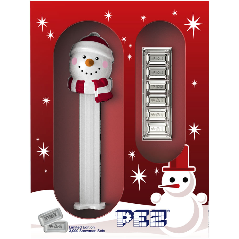 Holiday Snowman Pez Gift Set  - 6x5 gram Silver Bars