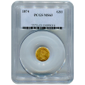 Certified US Gold $1 Liberty MS63 type 3 (Dates Our Choice) PCGS or NGC