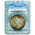 Certified Morgan Silver Dollar 1890-CC MS64 PCGS (Slightly Toned)