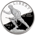 US Commemorative Dollar Proof 2012-W Infantry Soldier