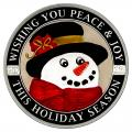 Christmas 2016 Silver Round XE-2 Enameled Wishing You Peace and Joy Snowman