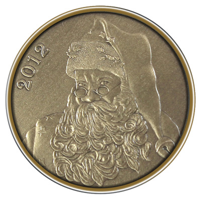 Christmas 2012 Bronze Round X-9 Santa (with ornament holder)