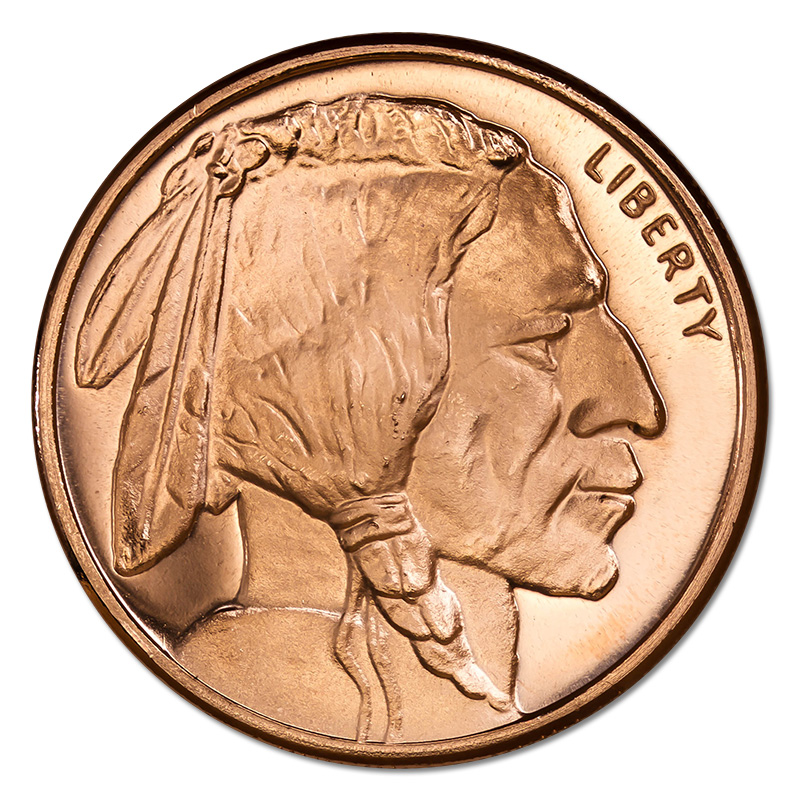 Copper Bullion 1 Oz Buffalo Round Golden Eagle Coins