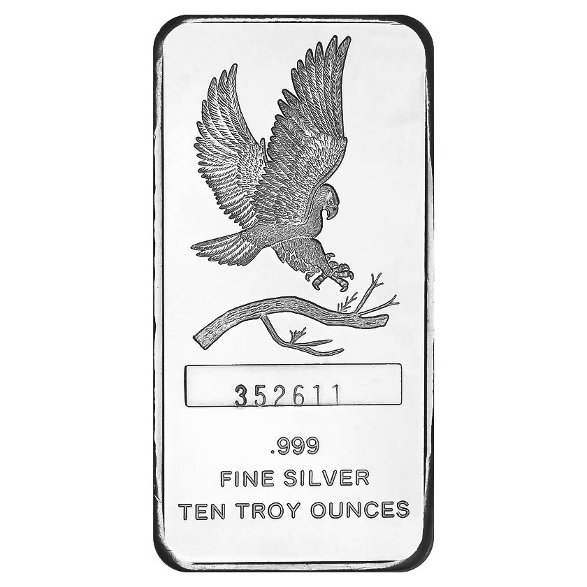 Silvertowne 10 Oz Silver Bar Eagle Design Golden Eagle