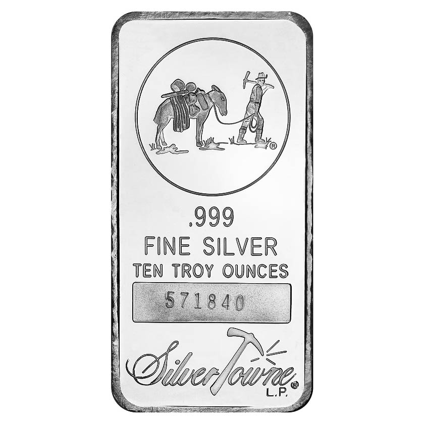 Silvertowne 10 Oz Silver Bar Prospector Design Golden