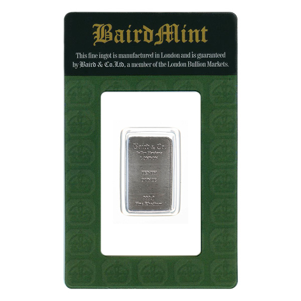 Rhodium Bars Baird Mint One Tenth Ounce Rhodium Bar