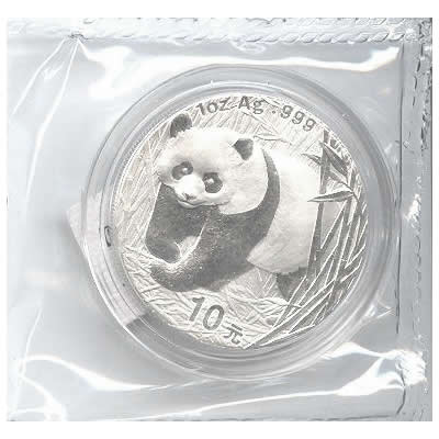 2001 Chinese Silver Panda 1 Oz Golden Eagle Coins