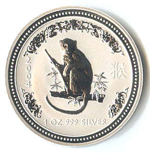 2004 Australia 1 Oz Silver Lunar Monkey Golden Eagle Coins