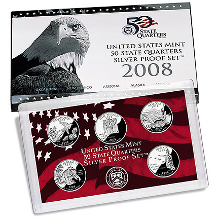 US Proof Set 2008 5pc Silver (Quarters Only)