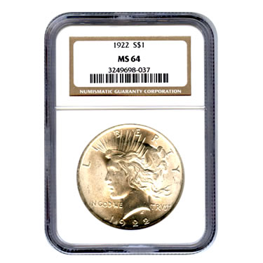 certified peace silver dollar ms64 ngc