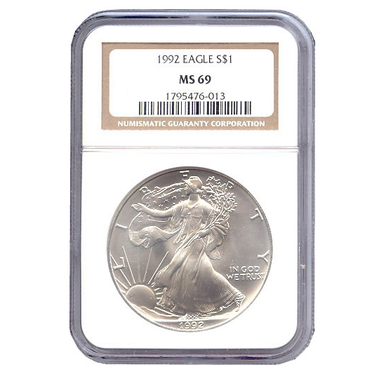 Certified Uncirculated Silver Eagle 1992 MS69